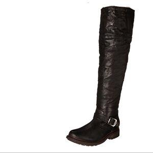 Frye Valerie Shearling OTK Black Boots 9M